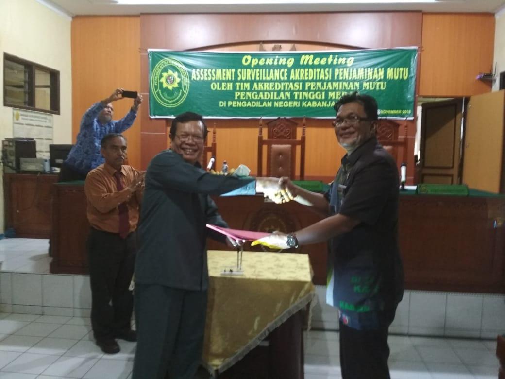 Opening Meeting Assement dan Surveillence Akreditasi Penjaminan Mutu oleh Tim Akreditasi Penjaminan Mutu Pengadilan Tinggi Medan