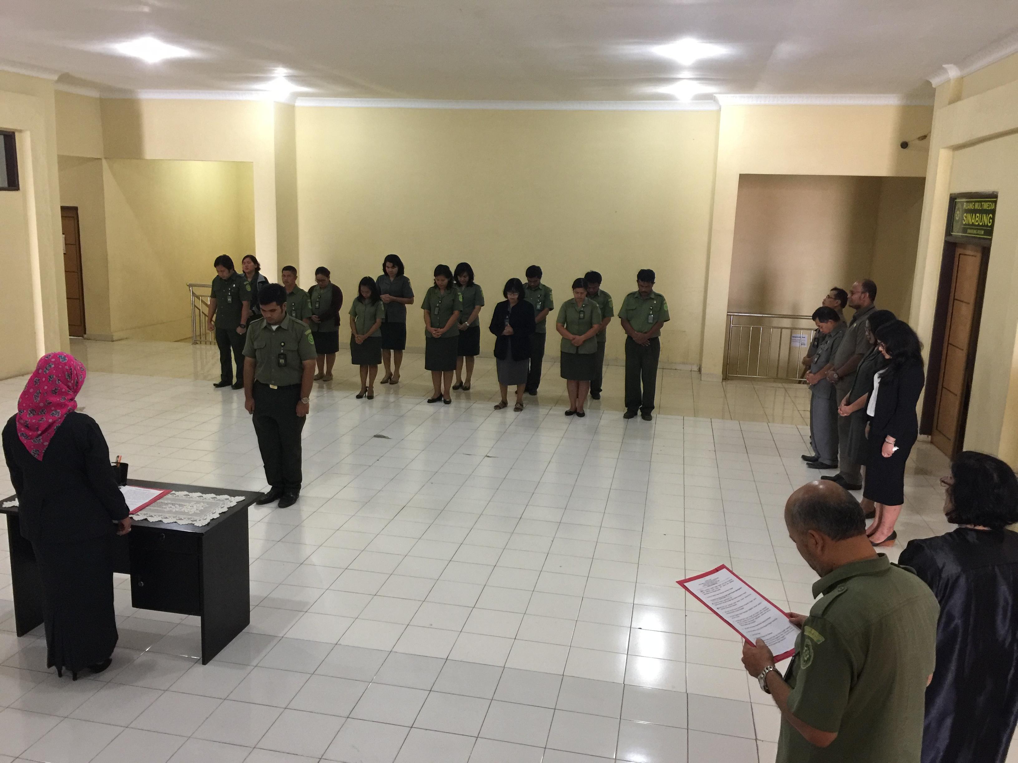Pelantikan Sdr. Roy Samuel Fernandus,ST sebagai Pegawai Negeri Sipil Pengadilan Negeri Kabanjahe